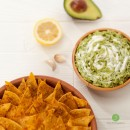 creamy guac with corn chips