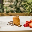 Mocha PannaCotta Cocoa - Set cream with a hint of mocha, Callebaut Chocolate & Sambuca strawberries
