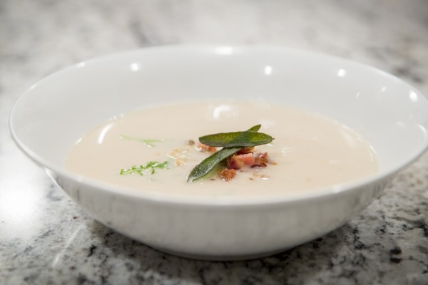 roasted cauliflower soup with Irving's Bacon